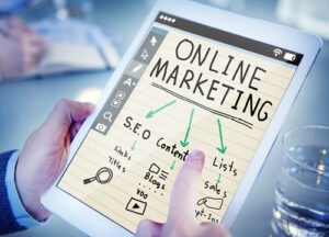 tablet with online marketing post